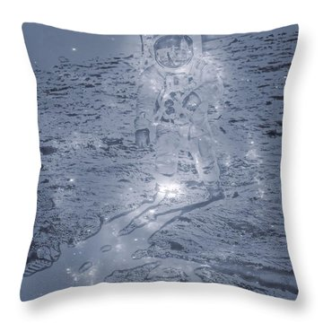 Man On The Moon Throw Pillow by Dan Sproul