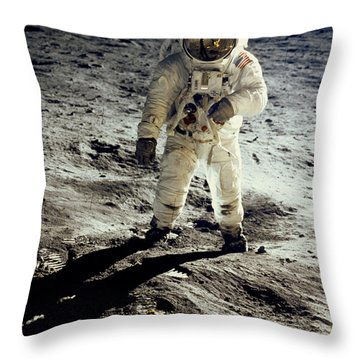 Man On The Moon Throw Pillow by Neil Armstrong/Underwood Archive