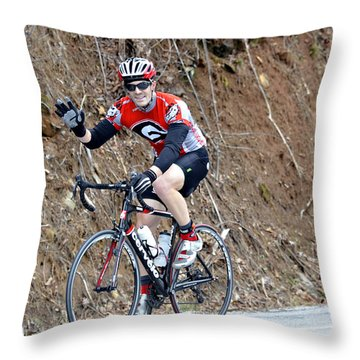 Man Riding Bike In A Race Throw Pillow by Susan Leggett