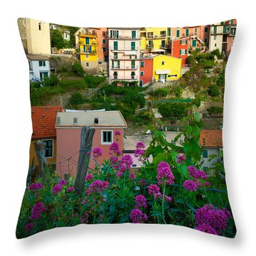 Manarola Flowers And Houses Throw Pillow by Inge Johnsson
