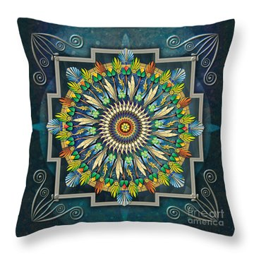 Mandala Night Wish Throw Pillow by Bedros Awak