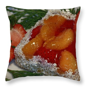 Mandarin And Strawberry Surprise Throw Pillow by Inspired Nature Photography Fine Art Photography