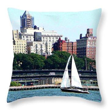 Manhattan - Sailboat Against Manhatten Skyline Throw Pillow by Susan Savad