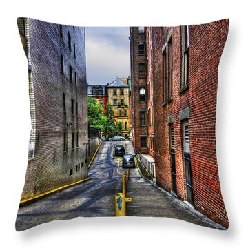 Manhattan Theater District Alley Throw Pillow by Randy Aveille