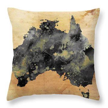 Map Of Australia Grunge Throw Pillow by Daniel Hagerman