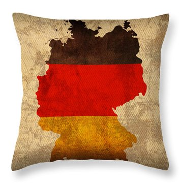 Map Of Germany With Flag Art On Distressed Worn Canvas Throw Pillow by Design Turnpike