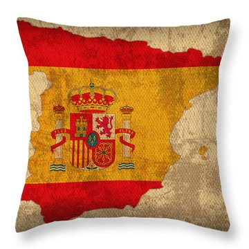 Map Of Spain With Flag Art On Distressed Worn Canvas Throw Pillow by Design Turnpike