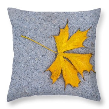 Maple Leaf On Granite 5 Throw Pillow by Alexander Senin