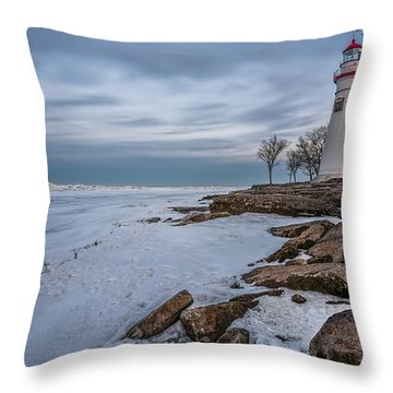 Marblehead Lighthouse  Throw Pillow by James Dean