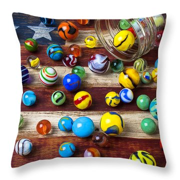 Marbles On American Flag Throw Pillow by Garry Gay