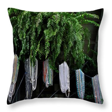 Mardi Gras Beads New Orleans Throw Pillow by Christine Till