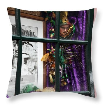 Mardi Gras Colors Throw Pillow by John Rizzuto