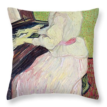 Marguerite Gachet At The Piano Throw Pillow by Vincent Van Gogh