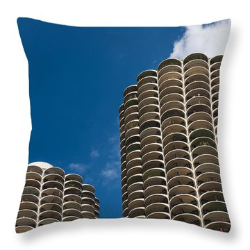 Marina City Morning Throw Pillow by Steve Gadomski