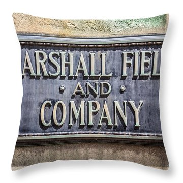 Marshall Field And Company Sign In Chicago Throw Pillow by Paul Velgos