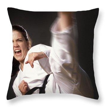 Martial Arts Kick Throw Pillow by Don Hammond
