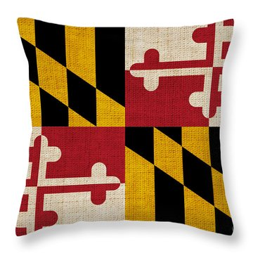 Maryland State Flag Throw Pillow by Pixel Chimp