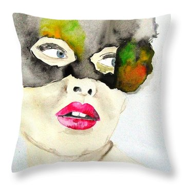 Mask In Watercolor Throw Pillow by Jacqueline Schreiber
