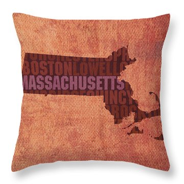Massachusetts Word Art State Map On Canvas Throw Pillow by Design Turnpike