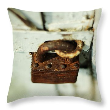 Master Lock Throw Pillow by Rebecca Sherman