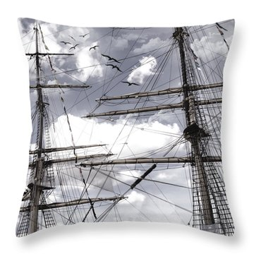 Masts Of Sailing Ships Throw Pillow by Evie Carrier