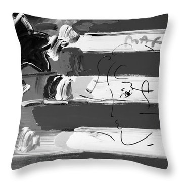 Max Stars And Stripes In Black And White Throw Pillow by Rob Hans