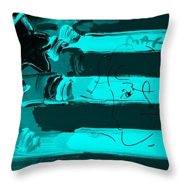Max Stars And Stripes In Turquois Throw Pillow by Rob Hans