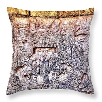 Mayan Hieroglyphic Carving Throw Pillow by Paul Williams