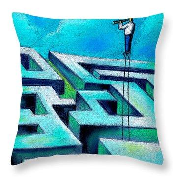 Maze Throw Pillow by Leon Zernitsky