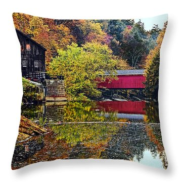 Mcconnell's Mill And Covered Bridge Throw Pillow by Marcia Colelli