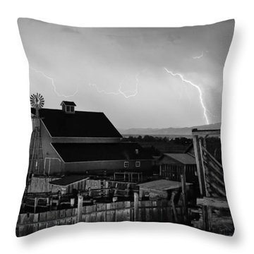Mcintosh Farm Lightning Thunderstorm Black And White Throw Pillow by James BO  Insogna