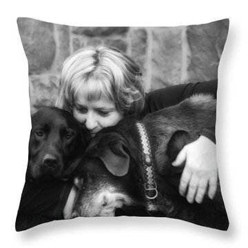 Me And My Pals Throw Pillow by Guy Whiteley