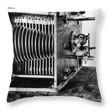 Mechanical Gear Number Sieve Throw Pillow by Underwood Archives