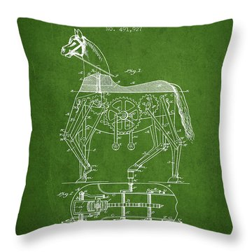 Mechanical Horse Patent Drawing From 1893 - Green Throw Pillow by Aged Pixel