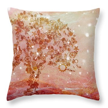 Mechanical - Tree Throw Pillow by Fran Riley