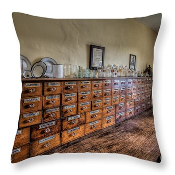 Medicine Cabinet Throw Pillow by Adrian Evans