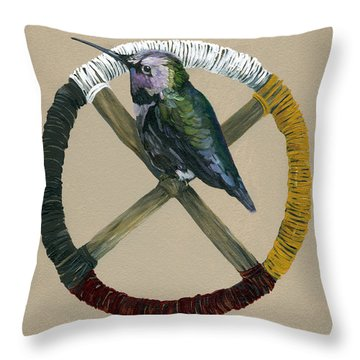 Medicine Wheel Throw Pillow by J W Baker