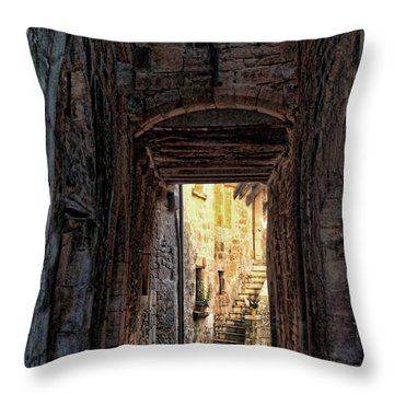 Medieval Alley Throw Pillow by Joan  Minchak