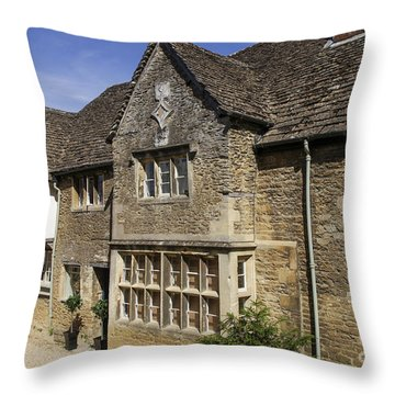 Medieval Houses In Lacock Village Throw Pillow by Patricia Hofmeester