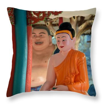 Meditating Buddha In Lotus Position Throw Pillow by Imran Ahmed