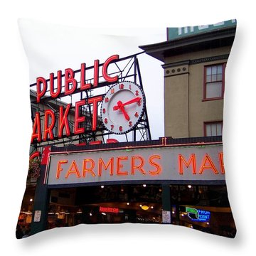 Meet Me In Seattle Throw Pillow by Karen Wiles
