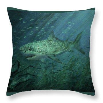 Megadolon Shark Throw Pillow by Tom Shropshire