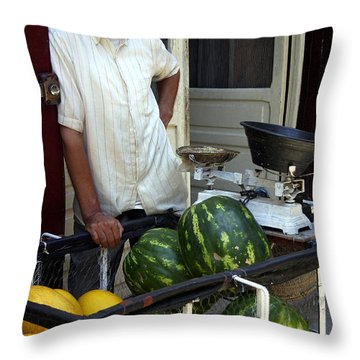 Melon Seller Old Medina Fez Morocco Throw Pillow by Ralph A  Ledergerber-Photography