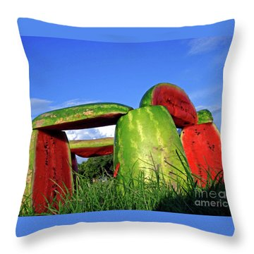 Melonhenge Throw Pillow by Joe Jake Pratt