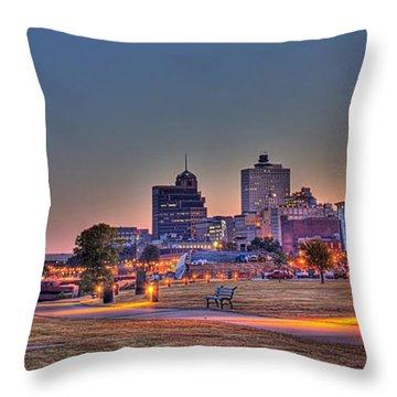 Cityscape - Skyline - Memphis At Dawn Throw Pillow by Barry Jones