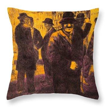 Men In Orange Light Throw Pillow by Kendall Kessler