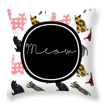 Meow Throw Pillow by Pati Photography