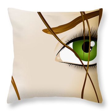 Meow Throw Pillow by Sandra Hoefer