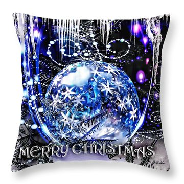 Merry Christmas Throw Pillow by Mo T