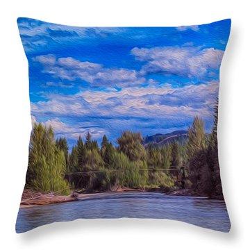 Methow River Crossing Throw Pillow by Omaste Witkowski